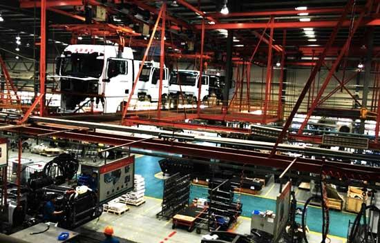 中国重汽的生产车间场景