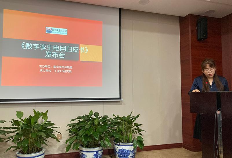 王明芬介绍《数字孪生电网白皮书》发布会